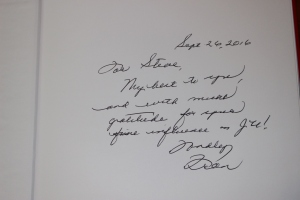 Inscription by Dr. Kinne for Steve.